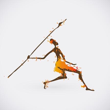 tribo: Ilustra��o Ca�ador tribal africano. S�mbolo Creative Culture tradicional. Ilustra��o