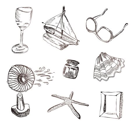 set of vocation icons. Wine glass, boat, sunglasses, fan, shell, picture frame and starfish Vector