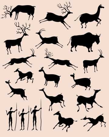 Cave rock painting animals silhouettes  set Vector