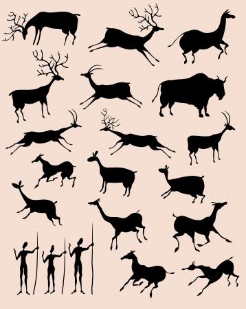 mağara: Mağara kaya resim hayvan siluetleri seti