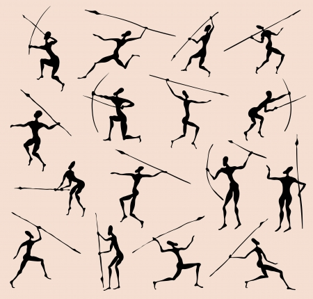 spears: Cave rock painting tribal people silhouettes  set