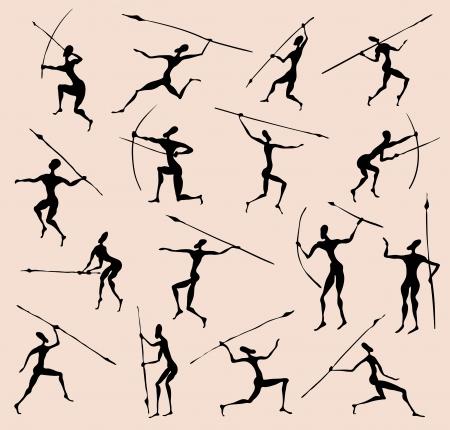 peinture rupestre: Cave Rock peinture tribales silhouettes de personnes établies