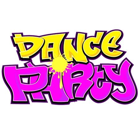Dance Party Graffiti Urban Art Design Vector