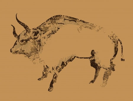Ancient cave painting of buffalo Vector