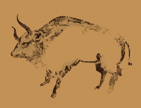 peinture rupestre: Peinture ancienne grotte de buffle Illustration