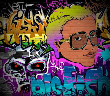 graffiti art: Graffiti wall urban art background  Grunge hip hop artistic design Illustration