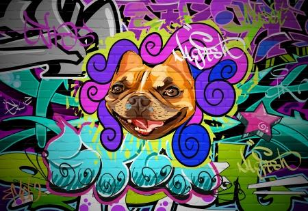 grafiti: Graffiti ścienne tła miejskiego sztuki hip hop artystycznym stylu Grunge