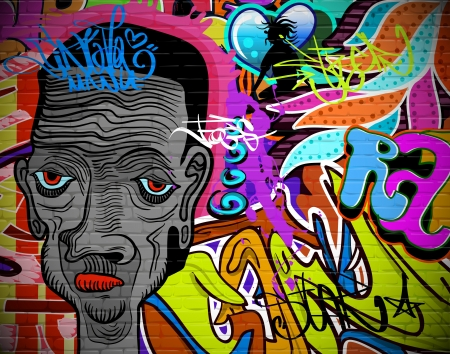grafitti: Graffiti wall urban art background  Grunge hip hop artistic design Illustration