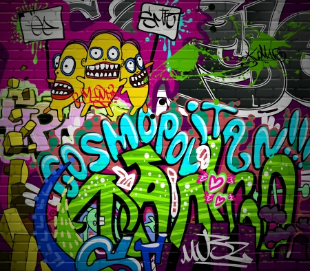 graffitti: Graffiti wall urban art background  Grunge hip hop artistic design Illustration