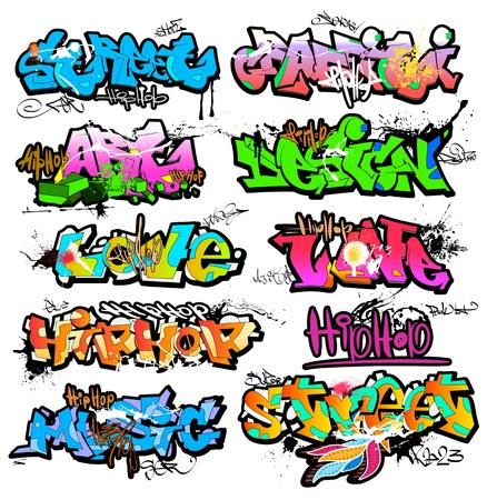 grafiti: Graffiti sztuka ilustracja miejski Ilustracja