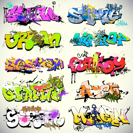 baile hip hop: Graffiti Urbano ilustración de arte