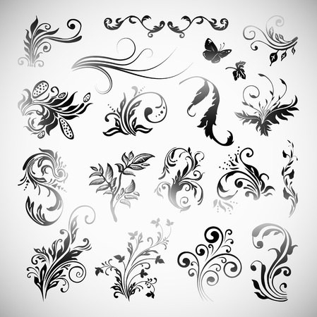 Ornament Flowers Vintage Design Elements