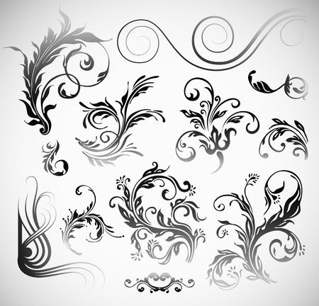 accents: Flores Ornamento Elementos de Dise�o Vintage