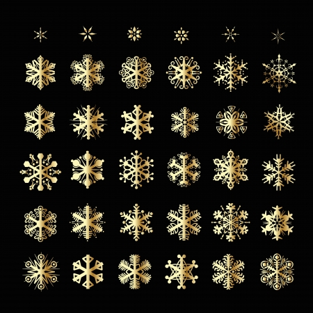 Snowflakes Christmas vector icons. Snow flake collection graphic art Vector