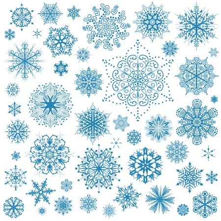 snowflake set: Snowflakes Christmas vector icons. Snow flake collection graphic art Illustration