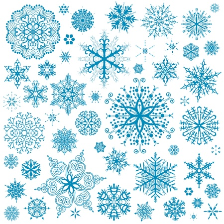 Snowflakes Christmas vector icons. Snow flake collection graphic art Illustration