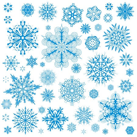 flake: Snowflakes Christmas vector icons. Snow flake collection graphic art Illustration
