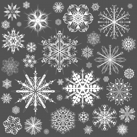 snow crystals: Snowflakes Christmas vector icons. Snow flake collection graphic art Illustration