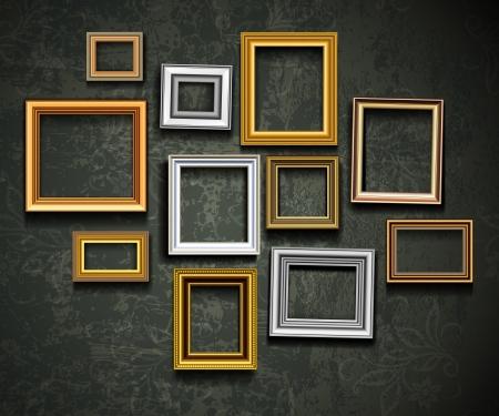 bilderrahmen gold: Bilderrahmen Vektor. Foto Galerie auf Vintage Wand.