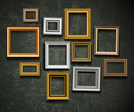 grunge photo frame: Cornice vettoriale. Photo galleria d'arte sulla parete d'epoca. Vettoriali