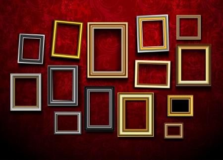 beursvloer: Picture frame vector. Foto galerie op vintage muur.