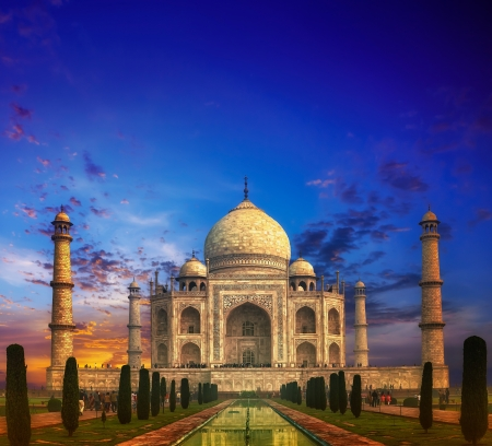 mahal: Taj Mahal India Sunset Stock Photo