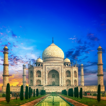 Taj Mahal India Sunset Stock Photo