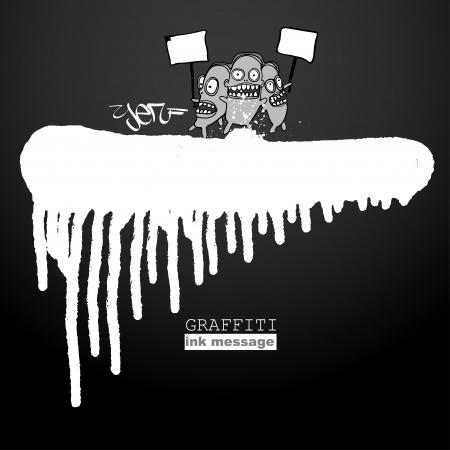 Graffiti ink frame. Artistic grunge banner design, funky element for hip hop background. Urban art. Vector