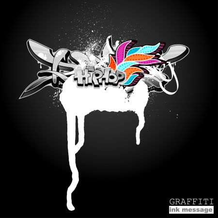graphiti: Graffiti ink frame. Artistic grunge banner design, funky element for hip hop background. Urban art.