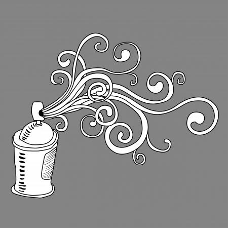 spray paint can: Graffiti art illustration. Spray can background
