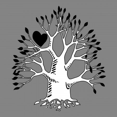 Graffiti art illustration. Love tree design Stock Vector - 17589839
