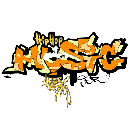 Graffiti music background, urban art Vector