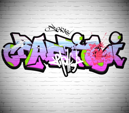 subculture: Graffiti wall background, urban art