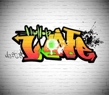 Graffiti wall background, urban art Vector