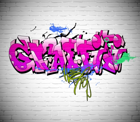 Graffiti wall background, urban art Vector
