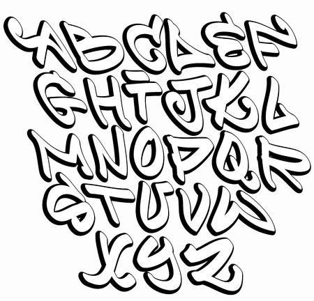 落書き: グラフィティ フォントのアルファベット文字。ヒップ ホップ型落書きデザイン