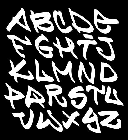 Graffiti font alphabet letters. Hip hop type grafitti design Vetores