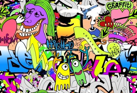 grafiti: Graffiti wall art background. Hip-hop style seamless texture pattern
