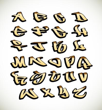 alfabeto graffiti: Graffiti font alfabeto lettere. Hip hop tipo di progetto graffiti Vettoriali