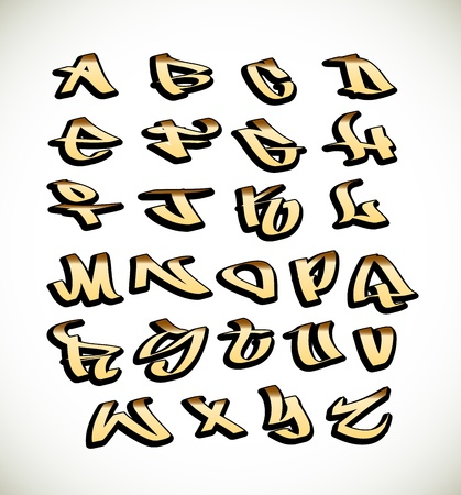 hiphop: Graffiti font alphabet letters. Hip hop type grafitti design