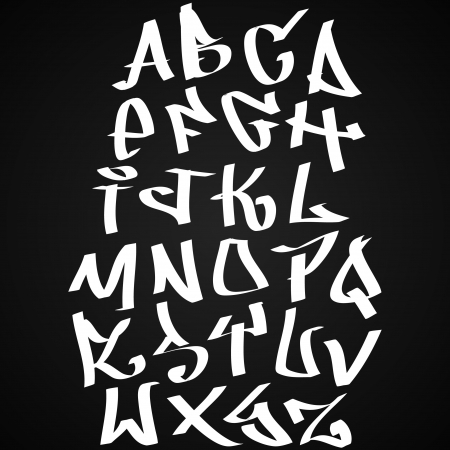 alphabet graffiti: Graffiti font alfabeto lettere. Hip hop tipo di progetto graffiti Vettoriali