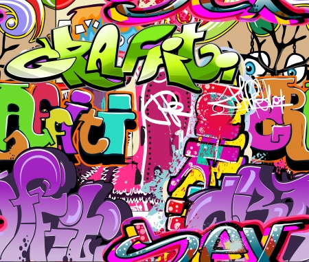 graffiti art: Graffiti wall. Urban art vector background. Seamless hip hop texture Illustration