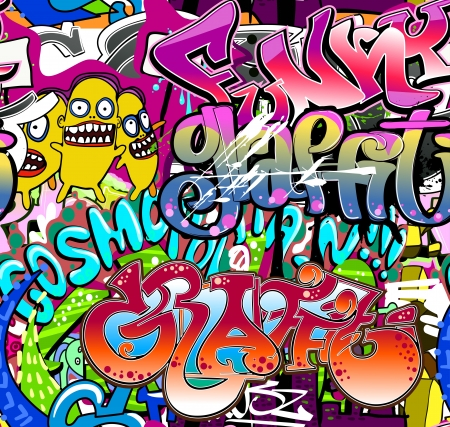 grafitti: Graffiti wall  Urban art vector background  Seamless hip hop texture Illustration