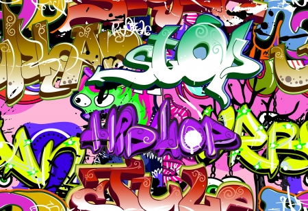graphiti: Graffiti wall  Urban art vector background  Seamless hip hop texture Illustration