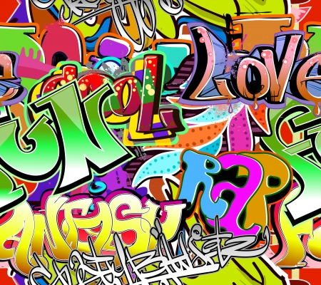 Graffiti wall  Urban art vector background  Seamless hip hop texture Illustration
