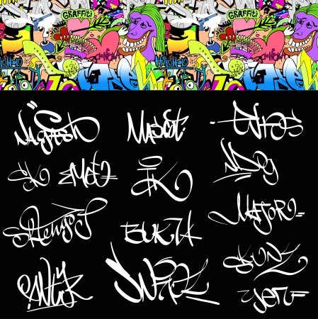Graffiti font tags urban illustration set  Hip hop art design Vector