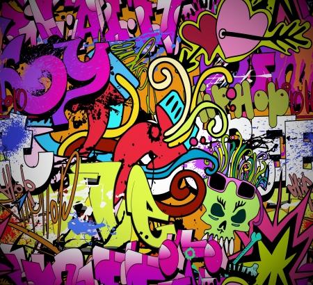 Graffiti kunst aan de muur achtergrond Hip-hop stijl naadloze textuur patroon