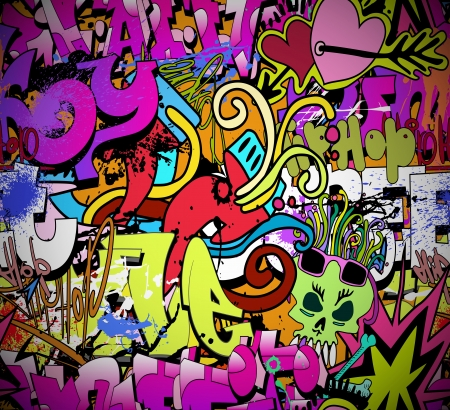 urban culture: Graffiti wall art background  Hip-hop style seamless texture pattern Illustration