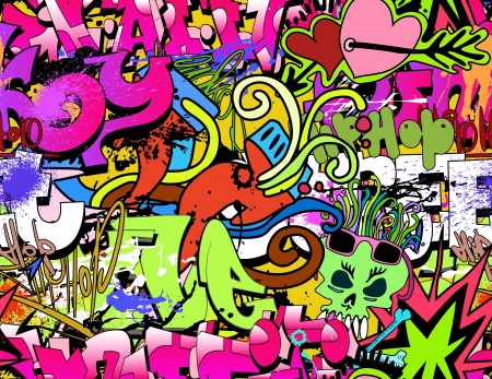 Graffiti wall art background  Hip-hop style seamless texture pattern Çizim
