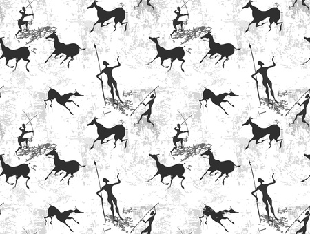archaeology: Cave painting seamless background texture Illustration